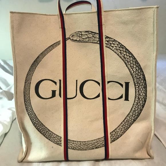 e4d34fc4f780 Bags   Gucci Ouroboros Print Tote   Poshmark